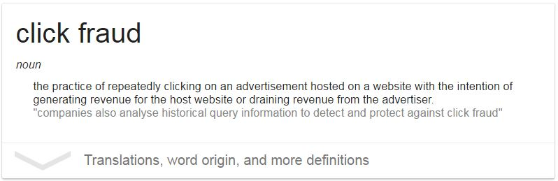 Dictionary definition of Click Fraud