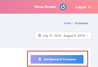 Add Manual IP Exclusion